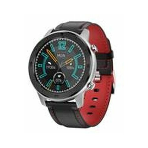 Moye DT78 Black Leather Strap - Red Embroidery - Silver smart sat  Cene