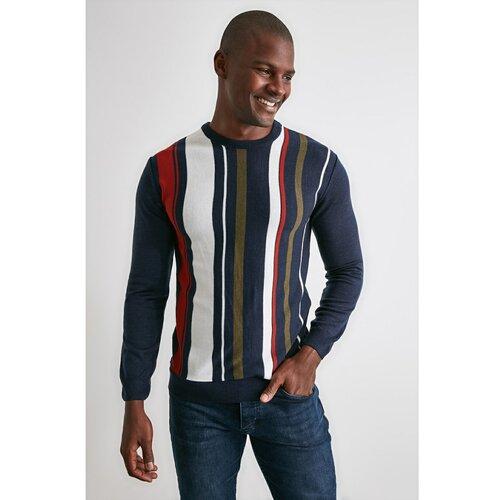 Trendyol Navy Blue Men's Line PanelEd Biciklistička ogrlica Trikotaža džemper plava | siva | braon Slike