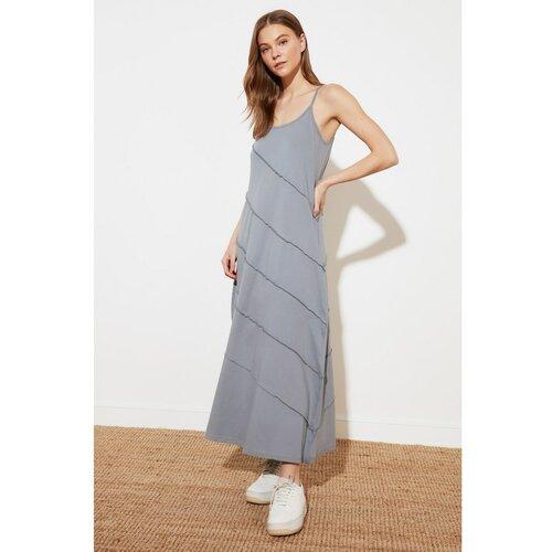 Trendyol Maxi pletena haljina SA Sivim šavom Detalj siva  Cene
