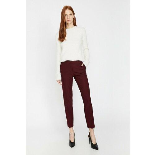 Koton Ženske bordo pantalone bijele boje crveno crveno  Cene