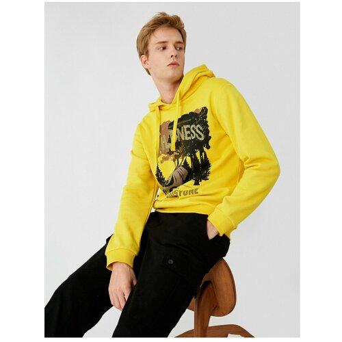 Koton Muška žuta dukserica s printom s kapuljačom crna   žuta  Cene