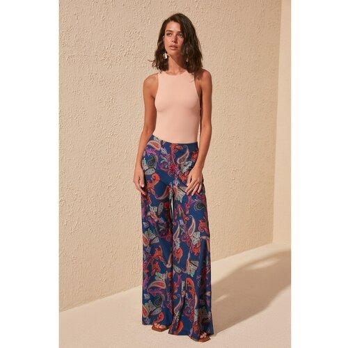 Trendyol Ženske pantalone Baggy plava   braon   tamnocrvena Slike