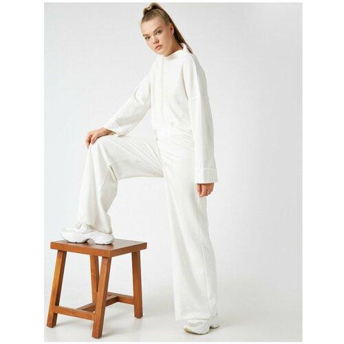 Koton Ženske pantalone širokih nogavica Ecru  Cene