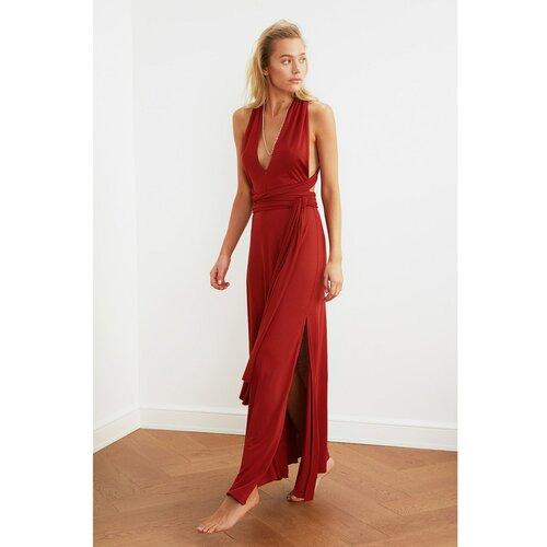 Trendyol Ženska braon haljina sa kravatom crveno crveno  Cene
