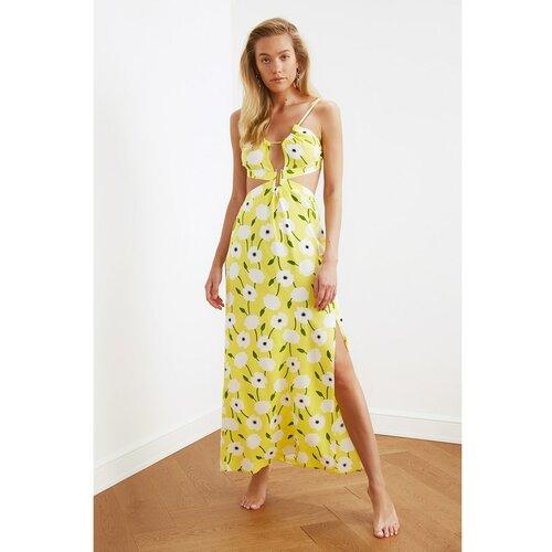 Trendyol Viskozna haljina za plažu sa žutim cvjetnim uzorkom bela | braon | krem | senf Slike