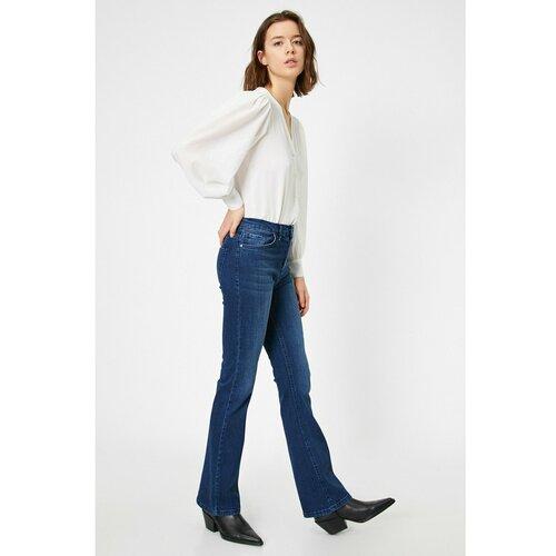 Koton Ženske široke noge Jean blue bijela  Cene