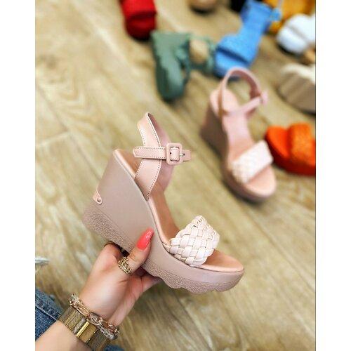 Hop Hop 15224 - pletene sandale na punu petu - roze  Cene