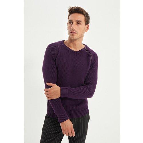 Trendyol Ljubičasti džemper za muškarce sa bočnim zatvaračem i džepom Slike